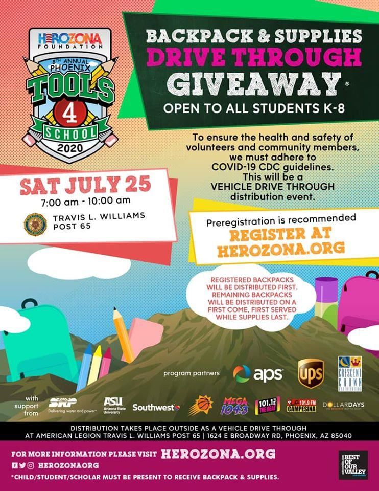 HeroZona Backpack & Supply Drive Through Giveaway Flyer
